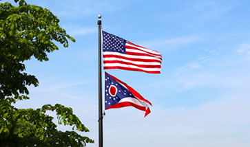U.S. and Ohio state flags